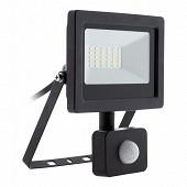Projecteur LED 20w noir avec detecteur ip44