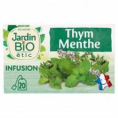 Jardin bio Infusion thym menthe bio fraicheur tonique 20 sachets de 30g