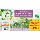 Jardin bio etic infusion bien être du foie bio étui + 24 sachets 36g