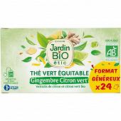 Jardin bio étic thé vert équitable gingembre citron vert bio étui + 24 sachets 36g