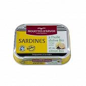 Les mouettes d'armor sardines à l huile d olive extra vierge et au citron BIO 115g