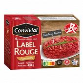 Convivial steak haché pur boeuf Label Rouge façon bouchère 12% mg 4x100g