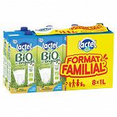 Lactel lait uht bio demi écrémé brique slim 8x1l format familial