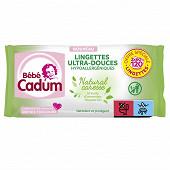 Cadum Bébé lingettes natural caresse 2 x 60 100% biodégradables