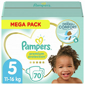 Pampers premium protection couches mega pack taille 5 70ct