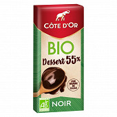 Côte d'or dessert noir bio 55% 150g