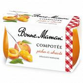 Bonne Maman compotée pêche abricot verveine 2x130g