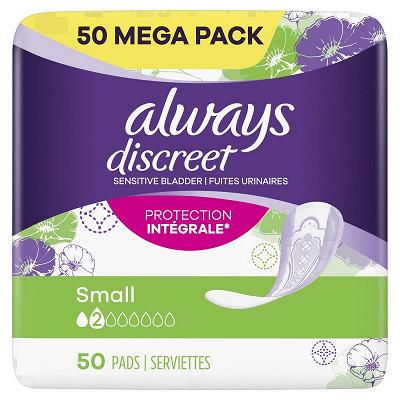Always Always discreet serviettes pour fuites urinaires taille 2 small 50ct