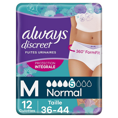 Always Always discreet culottes incontinence normal taille M X12