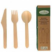 Ménagère 18 couverts bois (6 couteaux / 6 fourchettes / 6 cuillères)