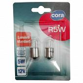 Cora blister 2 ampoules voiture R5W culot BA15s 5W 12V