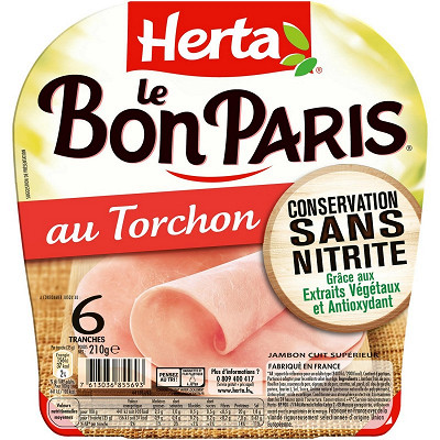 Herta Herta jambon torchon conservation sans nitrite 6 tranches 210g
