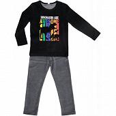 Pyjama long velours manches longues garçon ROUGE/NOIR 8 ANS