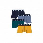 Lot de 4 boxers petit bateau 99 JAUNE/GRIS/BLEU/VERT 12 ANS