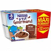Nestlé p'tit gourmand chocolat maxi format 12x100g dès 8 mois