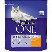 PURINA ONE Croquettes pour chat adulte au Poulet et Céréales Complètes - 450 g