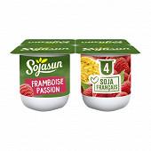 Sojasun spécialité au soja fermentée sucrée à la framboise et à la passion 4x100 g