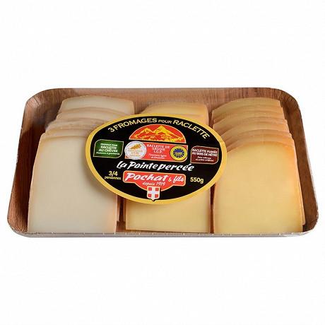 Plateau 3 fromages pour raclette la pointe percée 550g au lait thermisé