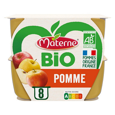Materne Materne bio sans sucre ajoutés pomme 8x100g