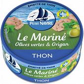 Petit navire emietté de thon mariné olives vertes & origan 110g