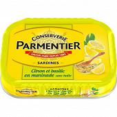 Parmentier sardines entières marinade sans huile, basilic, citron et thym 135g