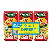 Panzani pâtes macaroni cuisson rapide 500g x2 + 1 paquet offert