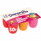 Danonino aux fruits fraise framboise abricot 6x50g