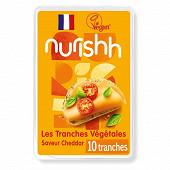 Nurishh tranches végétales saveur cheddar vegan - sans lactose - 10 tranches 200g