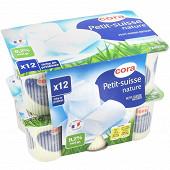 Cora petit suisse fromage frais au lait entier pasteurise nature 9.2 % mg  12 x 60g