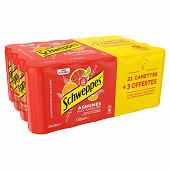 Schweppes agrumes boite slim 24x33cl 21+3 offerts