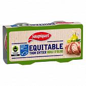 Saupiquet thon entier trait d'huile d'olive vierge extra équitable MSC 2x65g