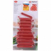 Lot de 10 pinces alimentaires en plastique coloris rouge