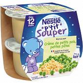 Nestlé p'tit souper crème de petits pois petites pâtes dès 12 mois 2x200g