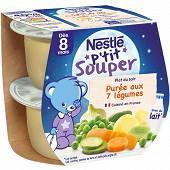 Nestlé p'tit souper purée du soir aux 7 légumes dès 8 mois 2x200g