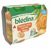Bledina pots purée haricots verts carottes veau 2x200g
