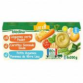 Bledina pots légumes poulet carottes dinde pommes de terre colin 8x200g
