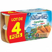 Nestle naturnes petits pots bébé carotte dés 4/6mois 4x130g