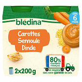 Bledina pots carottes semoule dinde 2x200g