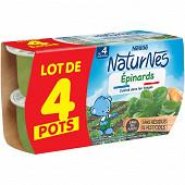 Nestle naturnes petits pots bébé épinards dés 4/6 mois 4x130g