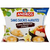 Andros sans sucre ajouté pomme morceau vanille 4x97g