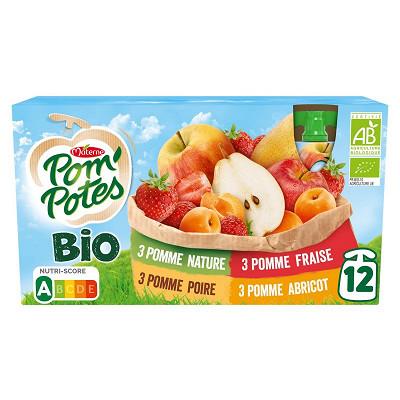 Materne Pom'potes bio multivaritétés (pomme,pomme poire, pomme fraise,pomme abricot)1080g