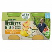 Blédina les récoltes bio pommes nectarines bananes 2x130g