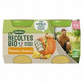 Bledina les récoltes bio pots pommes ananas dès 6 mois 2x130g