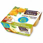 Charles & Alice uf sans sucre ajouté pomme poire 4x100g offre eco