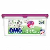 Omo lessive capsules 3en1 jasmin & fleur de coton 27 lavages