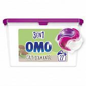 Omo lessive capsules 3en1 lait d'amande 27 lavages