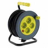 Prodelect enrouleur compact 4 ports 16 A - 15m câble HO5VV-F 3G1.0mm  couleur anis