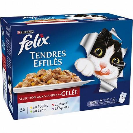 FELIX Sachets repas pour chat adulte Tendres Effilés en Gelée Viandes - 12 x 100 g