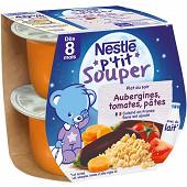 Nestlé p'tit souper aubergines tomates pâtes dès 8 mois 2x200g