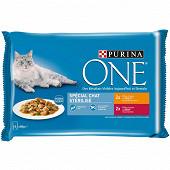PURINA ONE Chat Stérilisé Sachets fraîcheur pour chats adultes au Poulet et au Bœuf - 4 x 85 g